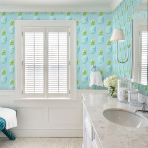 Brewster Wallcoverings Solstice Copacabana Pineapple Wallpaper Roomset