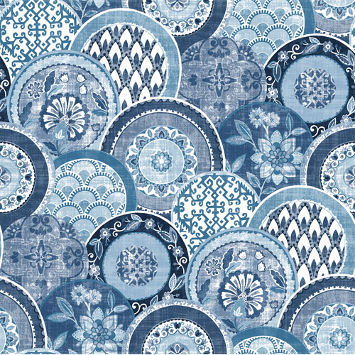 2744-24148 Brewster Wallcoverings Solstice Laguna Plate Wallpaper Blue