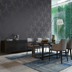 Seabrook Wallcoverings Modena Charlotte Damask Wallpaper Roomset