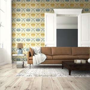 Seabrook Wallcoverings Montage Catamount Damask Wallpaper Roomset