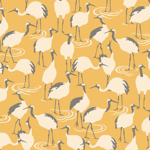 DR6357 York Wallcoverings Dwell Studio Winter Cranes Wallpaper Yellow