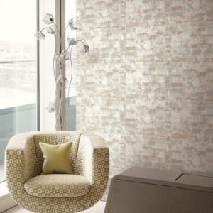 Seabrook Designs Metalworks Gutenberg Wallpaper Room Setting
