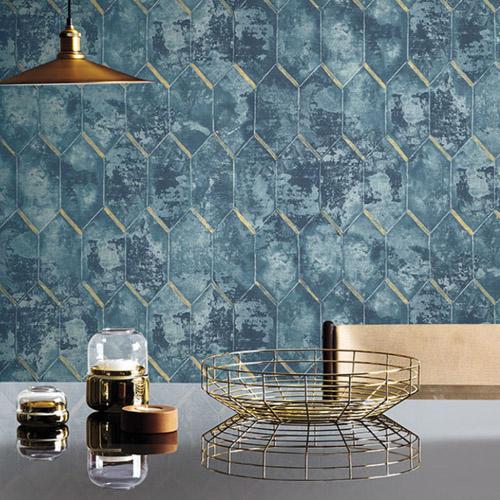Seabrook Designs Metalworks Whitney Wallpaper Room Setting