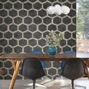 Seabrook Wallcoverings Metalworks Wright Wallpaper Room Setting