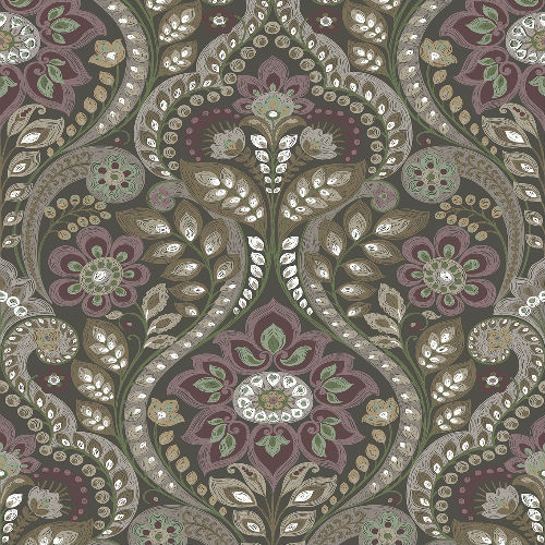 2763-12104 Brewster Wallcoverings Moonlight Night Bloom Damask Wallpaper Charcoal