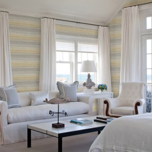 Brewster Wallcoverings Chesapeake Seaside Living Ombrello Stripe Wallpaper Room Setting