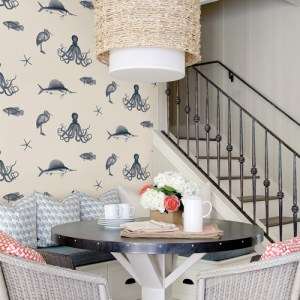 Brewster Wallcoverings Chesapeake Seaside Living Oceania Sea Creatures Wallpaper Room Setting