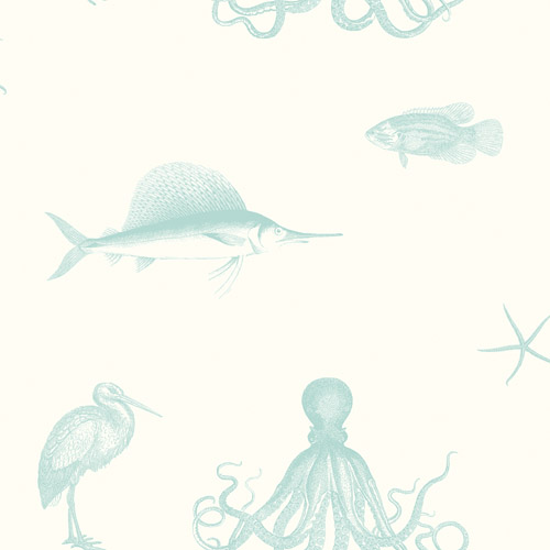 3113-12014 Brewster Wallcoverings Chesapeake Seaside Living Oceania Sea Creatures Wallpaper Aqua