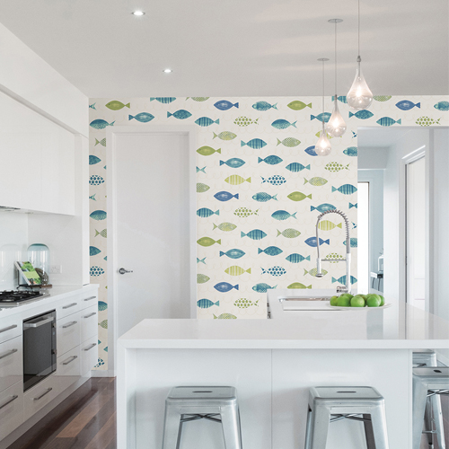 Brewster Wallcoverings Chesapeake Seaside Living Key West Fish Wallpaper Room Setting
