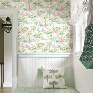 Brewster Wallcoverings Chesapeake Seaside Living Lagoon Watercolor Wallpaper Room Setting