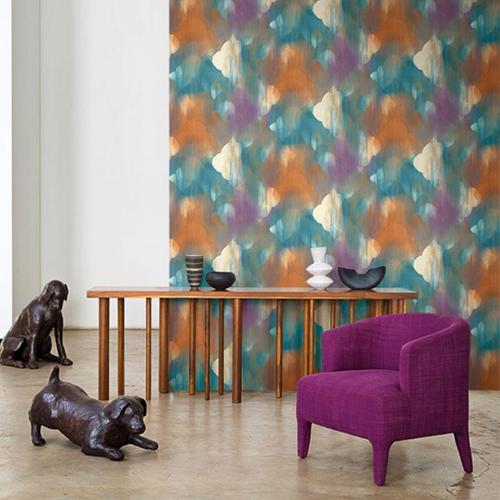 Seabrook Wallcoverings L'Atelier de Paris Watercolor Ogee Medallion Wallpaper Room Setting
