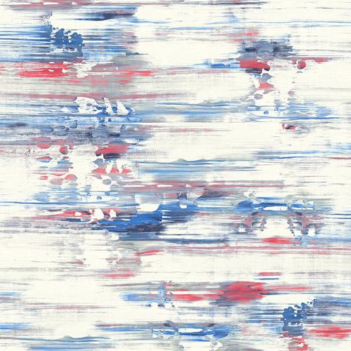 AH41111 Seabrook Wallcoverings L'Atelier de Paris Watercolor Brushstrokes Wallpaper Blue Red