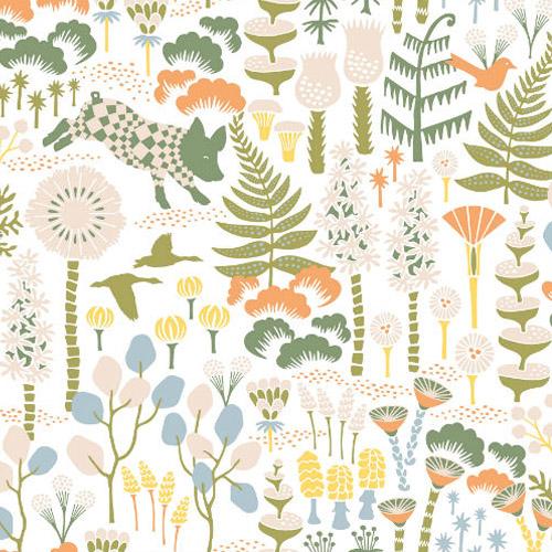 WV1450 Brewster Wallcoverings Hanna Werning Wonderland Hoppet Folk Wallpaper White