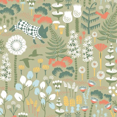 WV1451 Brewster Wallcoverings Hanna Werning Wonderland Hoppet Folk Wallpaper Green