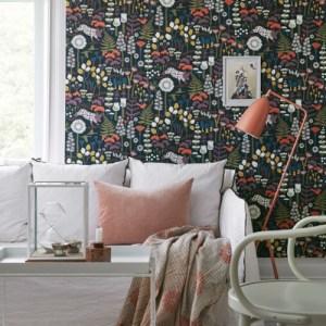 Brewster Wallcoverings Hanna Werning Wonderland Hoppet Folk Wallpaper Room Setting