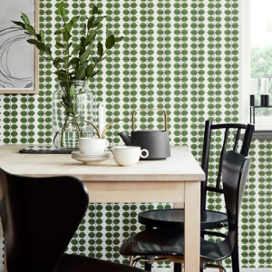 Brewster Wallcoverings Scandinavian Designers 2 Leaf Bersa Wallpaper Room Setting