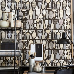 Brewster Wallcoverings Scandinavian Designers 2 Folk Pottery Wallpaper Room Setting