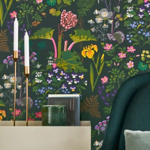 Brewster Wallcoverings Scandinavian Designers 2 Floral Rabarber Wallpaper Room Setting