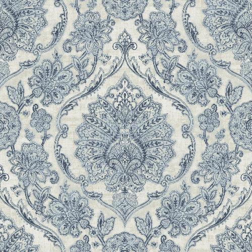 3114-003319 Brewster Wallcoverings Chesapeake Manhattan Club Carnegie Damask Wallpaper Blue