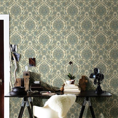 Brewster Wallcoverings Chesapeake Manhattan Club Carnegie Damask Wallpaper Room Setting