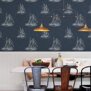 Brewster Wallcoverings Chesapeake Manhattan Club Hudson Bay Wallpaper Room Setting