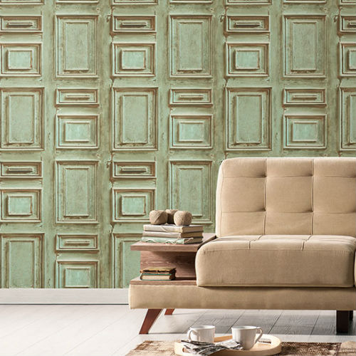 Patton Wallcoverings Norwall Illusions 2 Rustic Wood Panel Wallpaper Room Setting 1