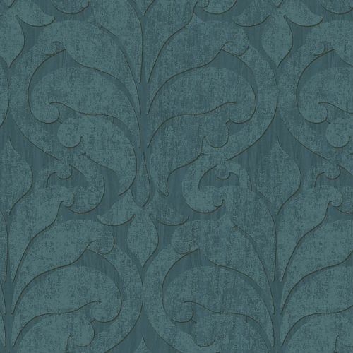 376003 Brewster Wallcovering Eijffinger Siroc Damask Vallon Wallpaper Teal
