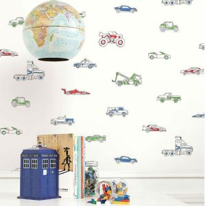 Seabrook Wallcoverings Playdate Adventure Traffic Jam Wallpaper Room Setting