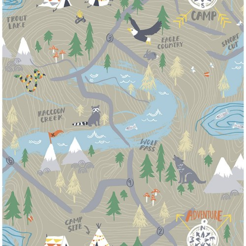 FA41906 Seabrook Wallcoverings Playdate Adventure Campground Wallpaper Taupe