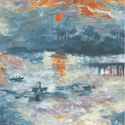 FI70002 Seabrook Wallcoverings French Impressionist Nautical Sunset Wallpaper Blue