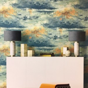 Seabrook Wallcoverings French Impressionist Nautical Sunset Wallpaper Room Setting