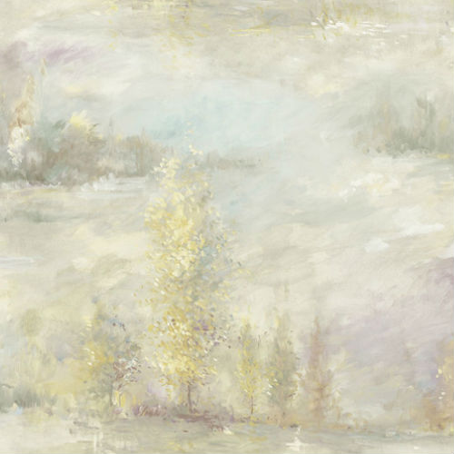 FI70807 Seabrook Wallcoverings French Impressionist Tree Line Wallpaper Beige