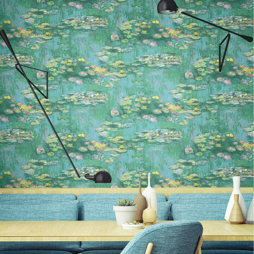 Seabrook Wallcoverings French Impressionist Lily Pad Wallpaper Room Setting