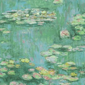 FI71504 Seabrook Wallcoverings French Impressionist Lily Pad Wallpaper Green
