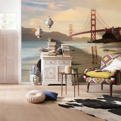 Brewster Wallcoverings Komar Into Illusions 2 Golden Gate Mural Room Setting