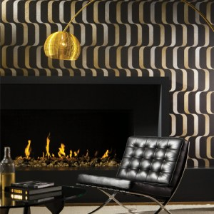 York Wallcoverings Mid Century Ribbon Wallpaper Room Setting Black