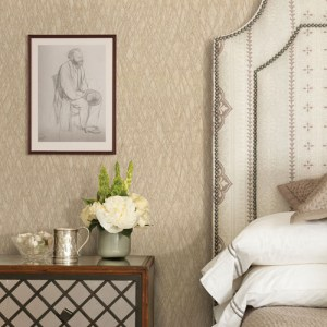 Brewster Wallcovering Warner Textures and Weaves Allegro Embossed Wallpaper Room Setting
