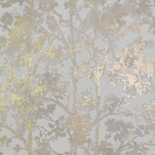 NW3583 York Wallcovering Antonina Vella Modern Metals Simmering Foliage Wallpaper White