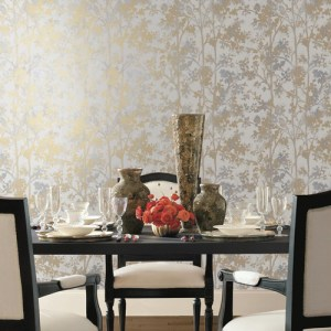 York Wallcovering Antonina Vella Modern Metals Simmering Foliage Wallpaper Room Setting