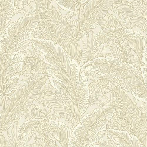 UK10002 Seabrook Wallcoverings Pear Tree Studios Mica Ruffled Palm Wallpaper Beige