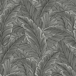 UK10004 Seabrook Wallcoverings Pear Tree Studios Mica Ruffled Palm Wallpaper Charcoal