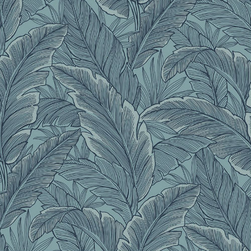 UK10012 Seabrook Wallcoverings Pear Tree Studios Mica Ruffled Palm Wallpaper Blue