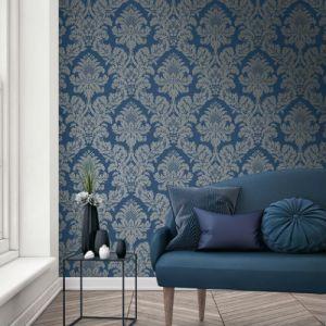 Seabrook Wallcoverings Pear Tree Studios Mica Raised Glitter Damask Wallpaper Room Setting