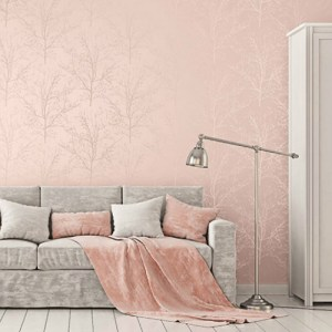 Seabrook Wallcoverings Pear Tree Studios Mica Glass Bead Tree Wallpaper Room Setting