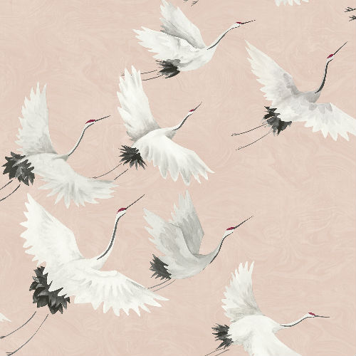 2764-24305 Brewster Wallcovering Mistral Windsong Crane Wallpaper Pink