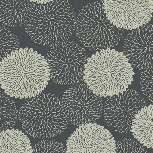 2764-24327 Brewster Wallcovering Mistral Blithe Floral Wallpaper Charcoal