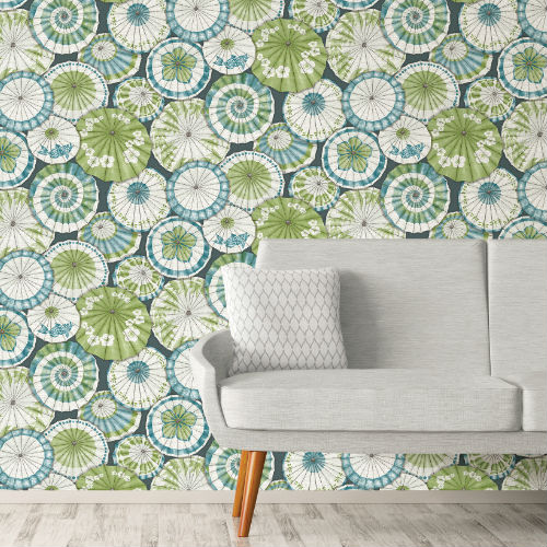 2764-24360 Brewster Wallcovering Mistral Mikado Parasol Wallpaper Room Setting