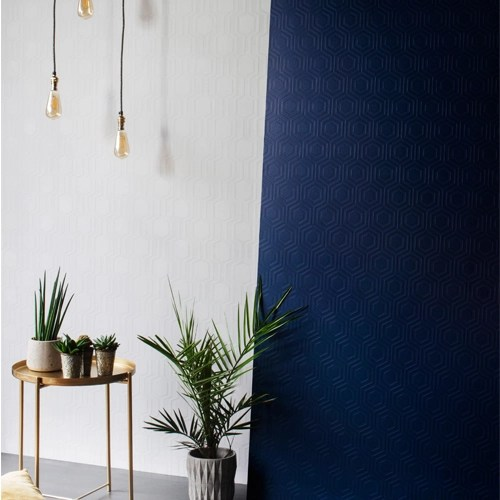 Charmant RD5671 RD5664 Brewster Wallcoverings Anaglypta XII Hex Geometric And Hive  Geometric Paintable Wallpaper Room Setting