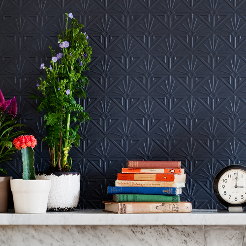 Brewster Wallcovering Anaglypta XII Deco Paradiso Paintable Wallpaper Room Setting