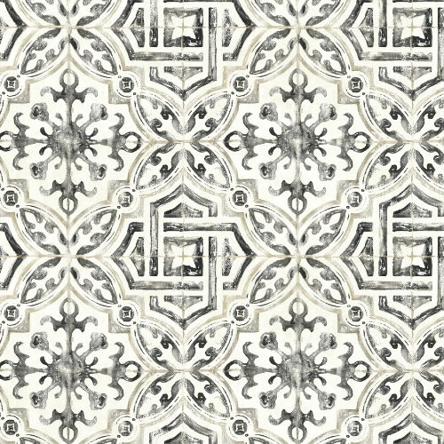 3117-12331 Brewster Wallcovering Chesapeake The Vineyar Sonoma Spanish Tile Wallpaper Black